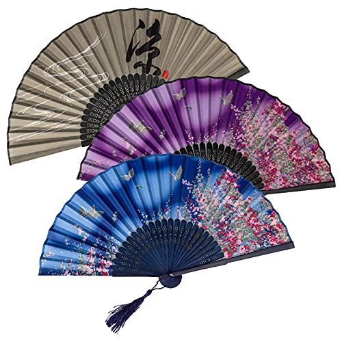 KIMI-HOSI 4 Pezzi Ventaglio in Stile Cinese Ventagli Pieghevoli da donna Ventaglio Pieghevole di Bambù in stile Cinese per Cosplay, Matrimoni, Regalo, Decorazione da parete - Nero Blu Viola