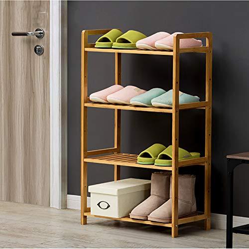 Rack De Zapatos De Bambú,4 Nivel Ajustable Estante De Almacenamiento De Rack De Zapatos,Ahorro De Espacio Estantes De Zapatos De Pie Libre Para Closets Entryway Shoe Organizer-Color de madera 50x25x10