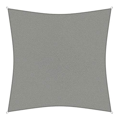 sunprotect 83226 Professional Sonnensegel, 5 x 5 m, Quadrat, Wind- & wasserdurchlässig, grausilber