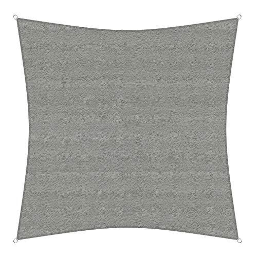 sunprotect 83264 Professional Sonnensegel, 3,6 x 3,6 m, Quadrat, Wind- & wasserdurchlässig, grausilber