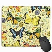 マウス -パッド 蝶と花のコラージュの四角形のノンスリップラバーベースのマウスパッドゲームおよびオフィス用マウスパッド(PCおよびラップトップ用)9.8 X 11.9インチ