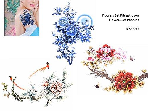 Pivoines Fleurs 3 Sheets Flash Tatouage Tattoo Faux tatouage Set
