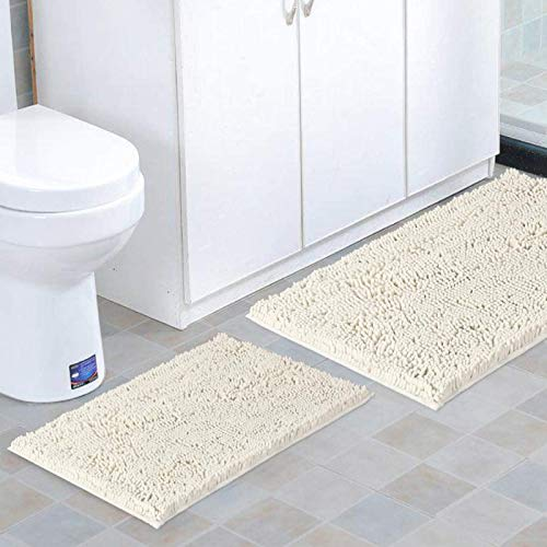 BellaHills Non Slip Chenille Bathroom Rugs Thick Shaggy Soft Bath Mats for Bathroom Extra Absorbent Floor Mats Bath Rugs Set for Kitchen/Living Room (Set of 2, 50 x 80/43 x 61 - cm, Ivory)