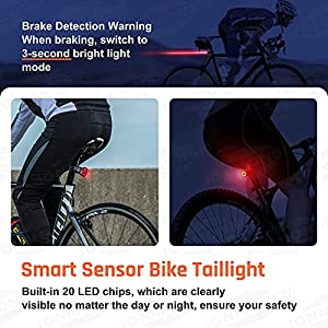 Luz Trasera para Bicicleta – Luz LED Trasera Recargable Inteligente USB para Bici, Impermeable IPX6 Luz Trasera de Advertencia