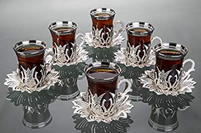 LaModaHome Silver Tea Set of 6 - Includes 6 Glasses, 6 Saucers Holders - VIP Special Serving Turkish Tulip Arabic, Moroccan Coffee Sets - Machine Washable Cup, Mug (Silver)