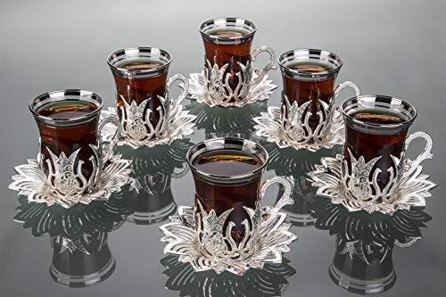 LaModaHome Juego de 6 tazas de té plateado, incluye 6 vasos, 6 soportes para platillos – VIP especial para servir tulipanes turcos árabes y marroquíes – Taza lavable a máquina, taza (plata)