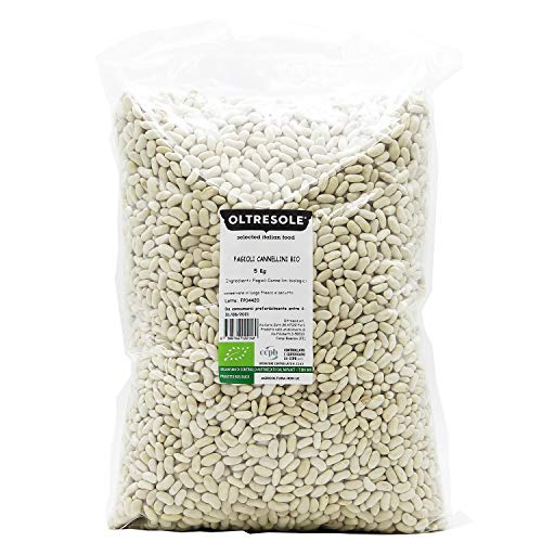 Oltresole - Fagioli Cannellini Biologici 5 Kg - legumi secchi bio da coltivazione controllata, ricchi di fibre, vitamine e sali minerali, ottimi per preparare zuppe e insalate, confezione convenienza