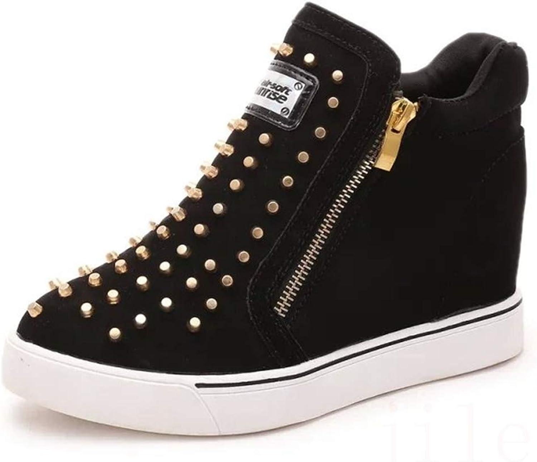 CYBLING Women's Platform Sneakers Hidden Wedges Side Zipper High Top shoes Studded Ankle Booties