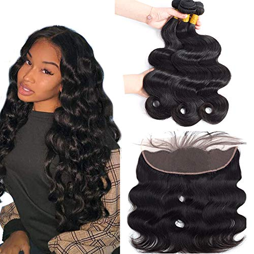 Sweetie Hair Body Wave 3 Bundles with Frontal Ear to Ear Lace Frontal Closure with Bundles Brazilian Human Hair Weave with Closure Natural Color (22 24 26 with 20)