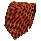 TigerTie Seidenkrawatte rostbraun schwarz gestreift - Krawatte 100% Seide