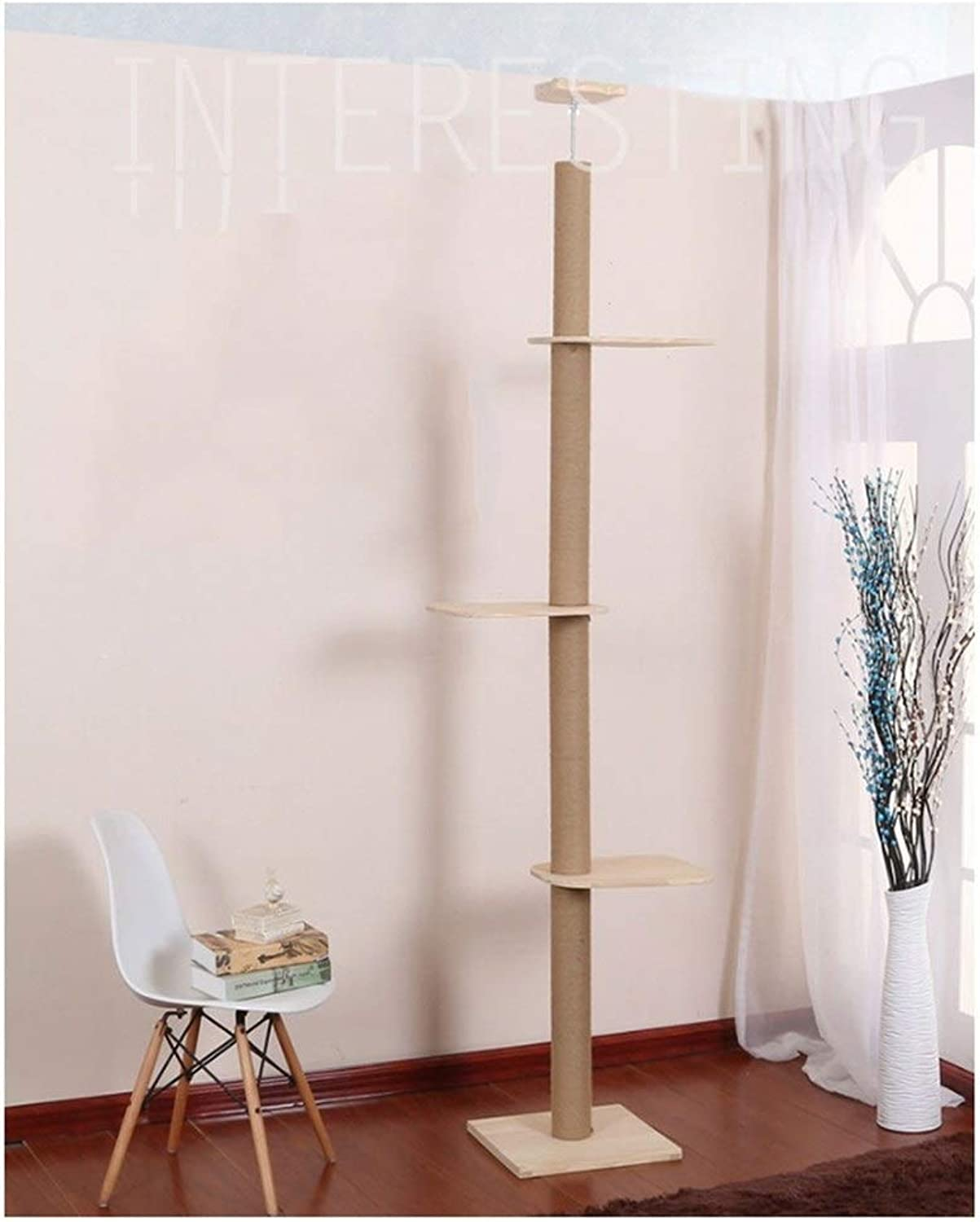 Cat climbing frame Cat Tree Natural Sisal Rope Cathead Cat Jumping Table Toys, Pet Supplies Strong and steadily (color   Beige)