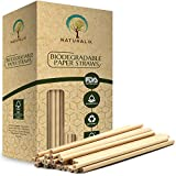 Naturalik 300/1000-Pack Biodegradable Paper Straws Dye-Free- Premium Eco-Friendly Paper Straws Bulk- Drinking Straws for Juices, Smoothies, Restaurants and Party Decorations, 7.7' (Brown, 300ct)