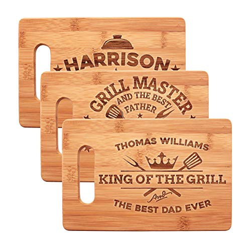 Dad Grilling Gifts, Personalized Dad Cutting Board - Grill Master Series   12 Designs - 3 Sizes   Custom Fathers Day Gifts for Dad, Husband - Dad Gifts from Wife, Daughter - Bamboo Handle