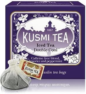 Kusmi Tea - Double Cool - Natural Herbal Tea Blend Including Herbs, Peppermint, Liquorice & Apple - All Natural, Premium Loose-Leaf Herbal Tea in 10 Large Eco-Friendly Tea Bags