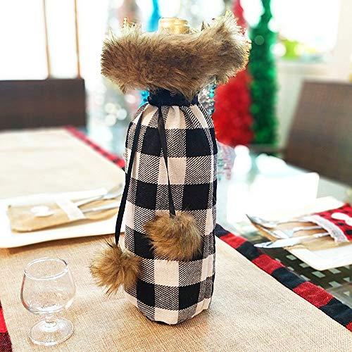 2019 Nuevas Decoraciones Navideñas Navidad Botella De Vino Tinto Bolsa Decoración Del Hogar Tela A Cuadros Botella De Vino De Navidad