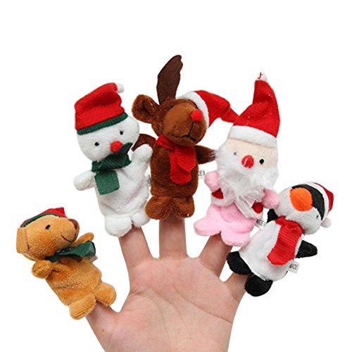 YeahiBaby Weihnachten Fingerpuppen Plüschtier Rentier Bär Pinguin Weihnachtsmann Schneemann Figur Spielzeug Handpuppe 5 Stück