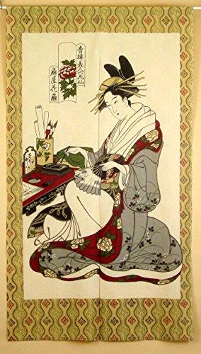 """narumi narumikk noren cortina de (en japonés) Ukiyo-e 85x 150cm 14218""""Las mujeres y piedra de tinta de Japón"""