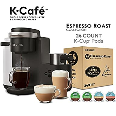 Keurig K-Cafe Single Serve Coffee Maker, Latte and Cappuccino Maker and Espresso Roast K-Cup Pods Variety Pack Single Serve K-Cup Pods, 24 Count