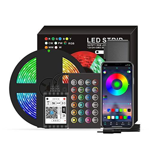 DECDEAL Smart Wifi LED RGB Strip Lights 16,4 pés. Luzes que mudam de cor 5050 com voz e APP e 24 teclas de controle remoto Luzes de fita de decoração de Natal para festival de festas em casa