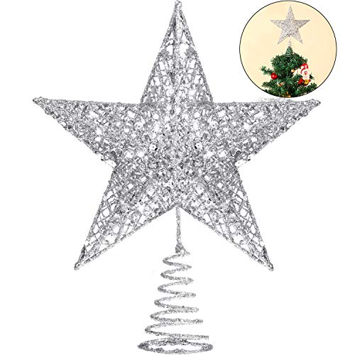 Blulu 6 Inches Star Tree Topper Exquisite Shimmery Christmas Tree Topper for Christmas Tree Decoration (Silver)