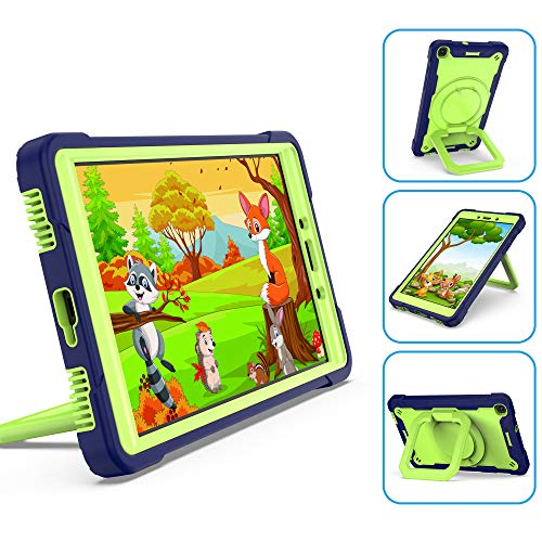 QYiD Case for Galaxy Tab A 10.1' 2019 (SM-T510/SM-T515), Heavy Duty Shockproof Kids Case with Hand Strap, Kickstand, Shoulder Strap for Galaxy Tab A Tablet 10.1' 2019, NavyBlue/Olivine