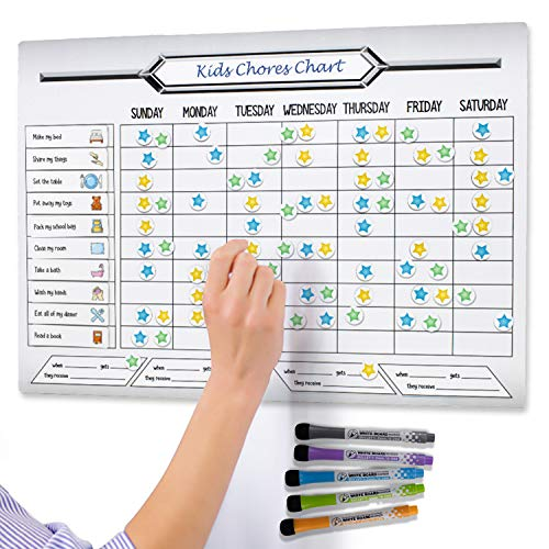 """Magnetic Chore Chart for Multiple Kids - 12""""x17"""" - Dry Erase Chore Chart That Wipes Clean - Responsibility Chart - Chore Chart for Teens with 5 Markers - Easy to use Fridge Chore Board That Kids Love"""