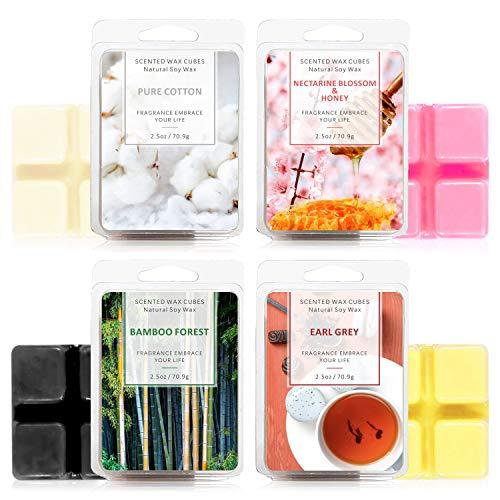 LA BELLEFÉE Fondants de Cire Parfumées Tartelettes Cire de Soja Naturelle pour Brûle Parfum, 24 Cubes Totaux (280g) (Earl Grey, Miel de Nectarine, Forêt de Bambous, Coton)