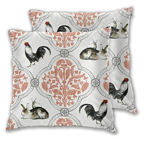 Throw Pillow Cover Cushion Cover Pillow Cases Decorative Linen Rabbit Rooster for Home Bed Decor Pillowcase,45x45CM