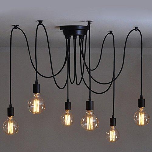 Edison - Lámpara de techo colgante de 110 a 220 V con lámpara de techo (ajustable, con faro de araña negro), diseño clásico, cabezas 1/3/5, 6 Heads