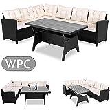 Deuba Poly Rattan Sitzgruppe Ecklounge I 7cm dicken Auflagen I WPC Tischplatte I 340cm Sitzfläche Sitzgarnitur Eckbank