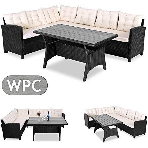 Casaria Conjunto de muebles de jardin para 6 personas comedor esquinero con cojines + tablero de mesa WPC terraza patio