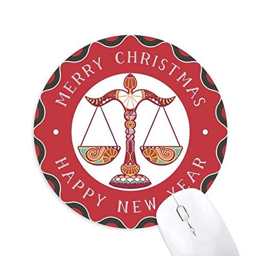 Waage Sternbild Sternzeichen Maus Pad Fröhliche Weihnachten Rundgummi