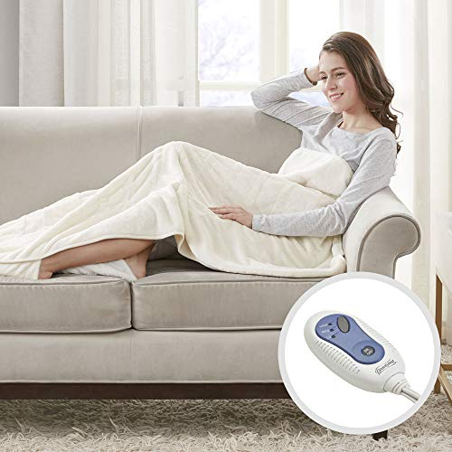 Beautyrest Foot Pocket Soft Microlight Plush Electric Blanket Heated Throw Wrap with Auto Shutoff-5 Year Warranty, 50x62, Ivory