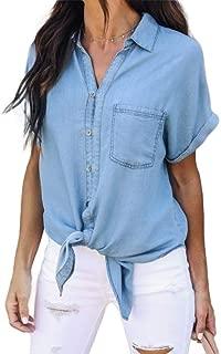 Mogogo Womens Short Sleeve V-Neck Slim Fit Comfy Chic Denim Tops Blouses