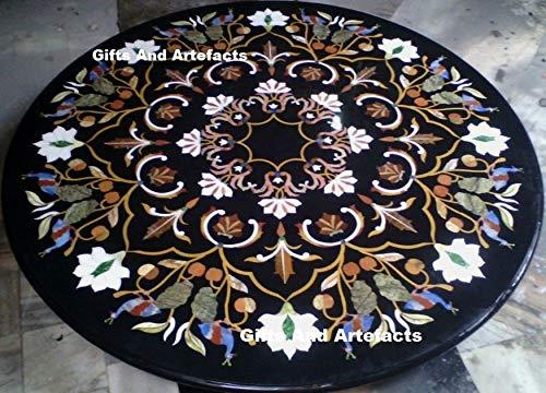 Gifts and Artefakts Konferenztisch/Couchtisch, Marmor, mit Blättermuster, 152,4 cm, rund, Schwarz
