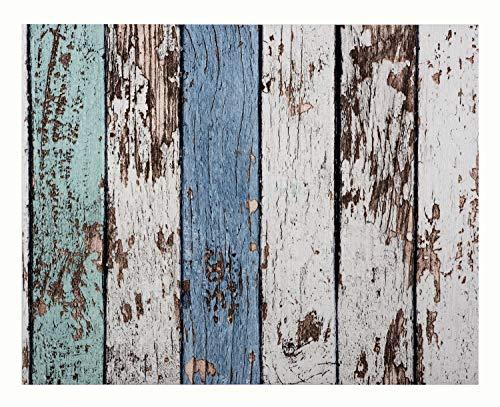 Glorex 6 1330 008 Design behang, houten latten shabby turquoise/blauw, ideaal voor knutselen en decoreren, ca. 120 x 53 cm.