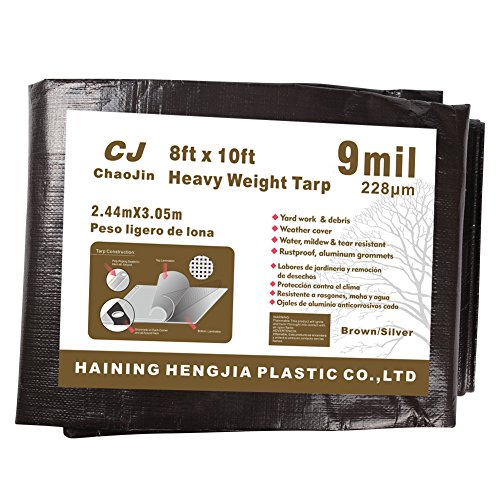 ChaoJin Waterproof Tarp 9 Mil Thick Rust, Tear Proof Heavy Duty Camping Colored Tarp with Grommets and Reinforced Edges 8