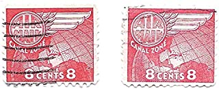 Canal Zone US Possession Air Mail Postage Stamp Pair (2 Stamp Set) 8 Cent Scott #C34