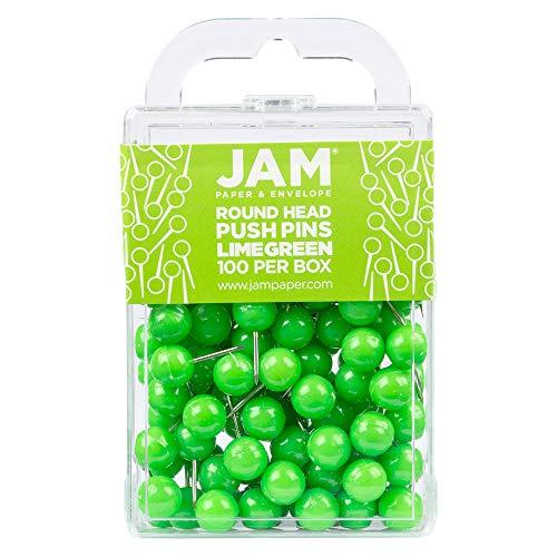 JAM PAPER Colorful Push Pins - Round Head Map Thumb Tacks - Lime Green Pushpins - 100/Pack