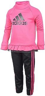 adidas Girls Tricot Jacket and Pant Set (Magenta/Black, 6)