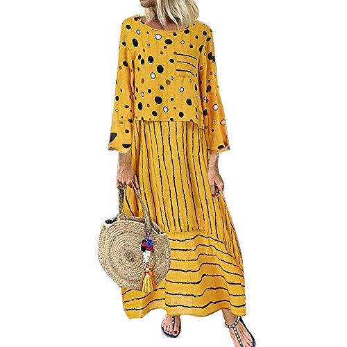 Vertvie dames zomerjurk strandjurk lange boho jurk lange mouwen ronde hals cocktailjurk avondjurk partyjurk met punten strand jurken