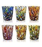 """Set di 6 Bicchieri da Acqua """"TUMBLER"""" in vetro di Murano. Modello """"CLASSIC"""". (6 colori mix, 6)"""