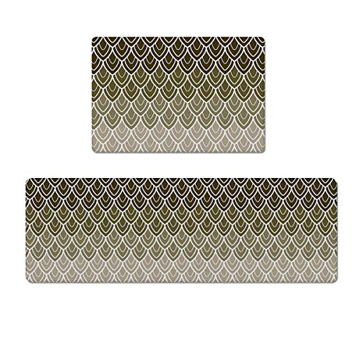 LEO BON 2 Piece PVC Leather Kitchen Rugs Set with Rubber Backing Brown Fish Scale Mermaid Tail Geometry Watercolor Print Waterproof Oil-Proof Non-Slip Kitchen Floor Mat 18 x 30 Inch + 18 x 60 Inch