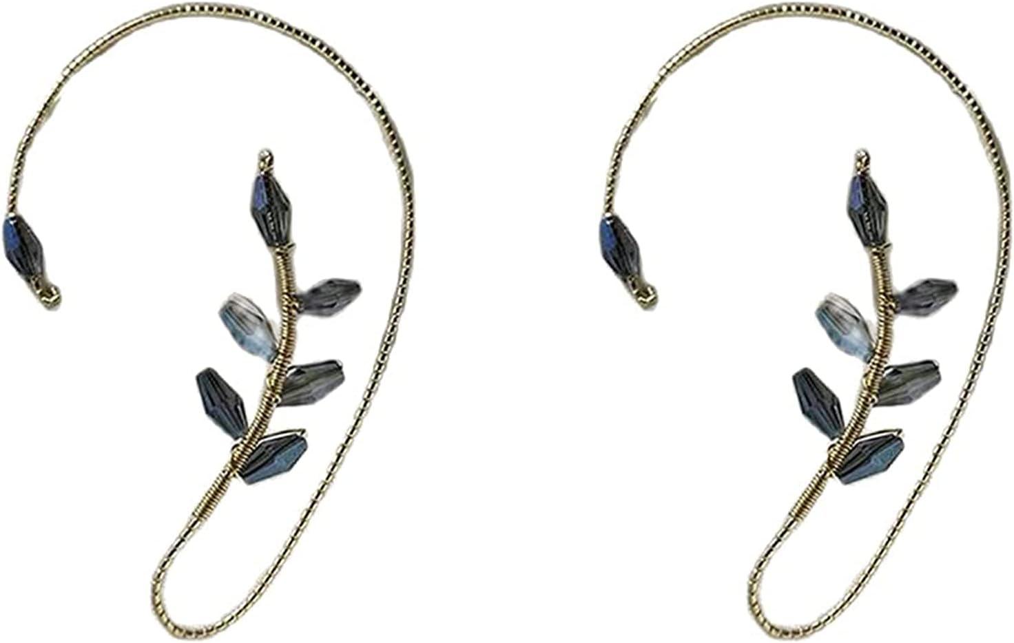 CERISIAANN 1 Pair Vintage Ear Cuff Earrings, Elegant Crystal Pearl Design Earrings, Women Fashion Beading Ear Hook Non-Piercing Ear Wrap for Women and Girls