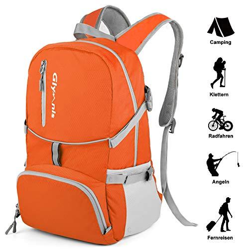 Glymnis Faltbarer Rucksack 30L Klein Tagesrucksack Ultraleicht Packable Rucksack Faltbarer Reiserucksack für Outdoor Wandern Reisen Damen und Herren (Orange)