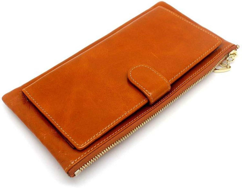 Chengzuoqing Weiche Lange Geldbörse für Damen Qualität weiche Echtledergeldbeutel-Multi Krotitkarte-Frauen-Kupplungs-Mappe Doka-Brieftasche aus Leder (Farbe   braun) B07QK5KPWL