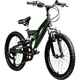 Kinderfahrrad MTB 20 Zoll Fully Galano FS180 Fahrrad Full Suspension ab 6 Jahre (Khaki, 31 cm)