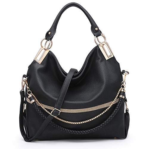 """[Material]: Soft pebbled vegan leather (PU) with gold tone shiny hardware and front rhinestone accents. 100% eco-friendly. No animals were harmed. [Dimensions]: Top zip closure. 17""""W x 12.5""""H x 6""""D. Handle drop length: 8"""". Bonus shoulder strap (remov..."""