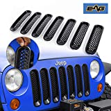 EAG Matte Black Clip-in Mesh Grille Insert Cover 7PCS Fit for 07-15 Wrangler JK