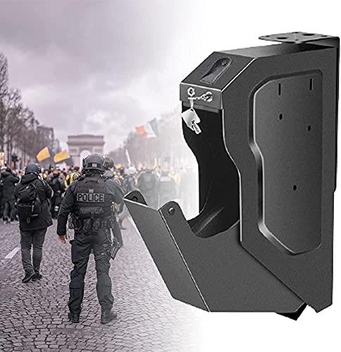 AACXRCR Armadi sicuri per pistola Portatile, scatola di pistola sicura con impronta digitale Biometrica e serratura a chiave di riserva, scatola di sicurezza in acciaio per pistola, pistole di sicurez
